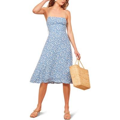Plus Size Reformation Peach Midi Dress, Blue