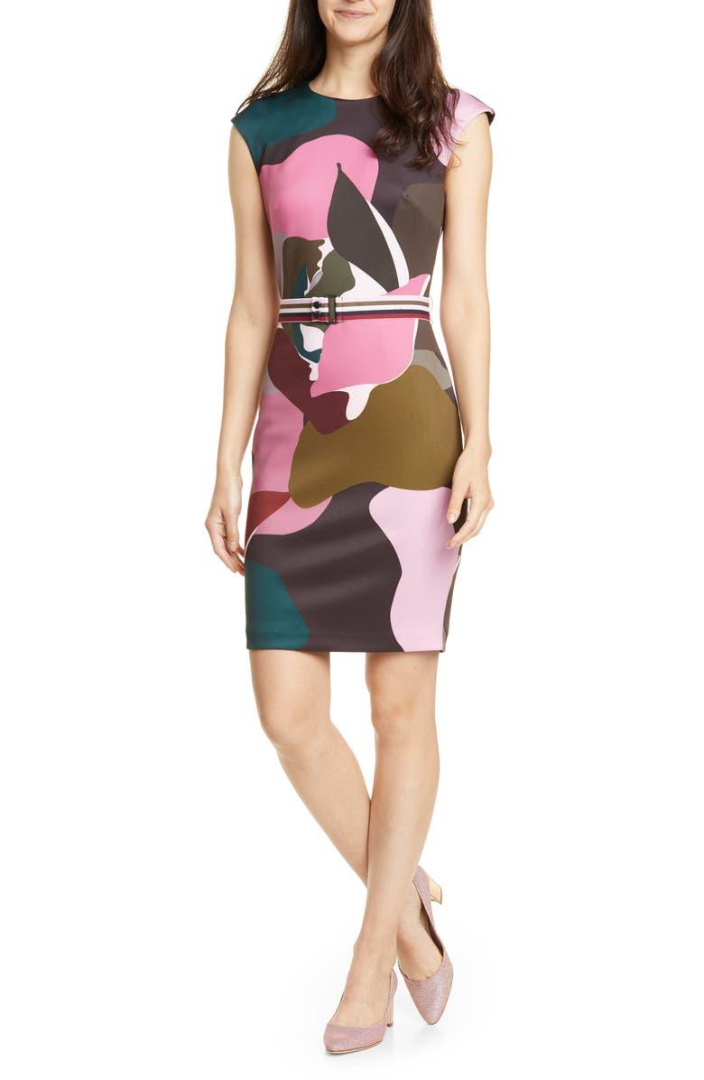 TED BAKER LONDON Strawberry Swirl Body-Con Dress, Main, color, BLACK