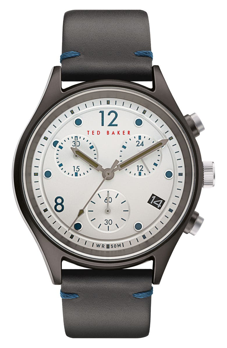 TED BAKER LONDON Beleeni Chronograph Leather Strap Watch, 42mm, Main, color, GREY/ WHITE