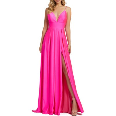 MAC Duggal Plunge Neck Pleated Gown