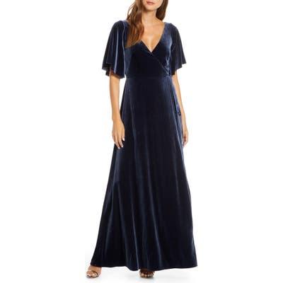 Jenny Yoo Marin Flutter Sleeve Velvet Faux Wrap Evening Gown, Blue