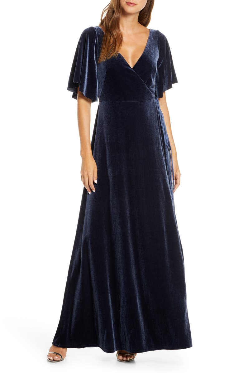 JENNY YOO Marin Flutter Sleeve Velvet Faux Wrap Evening Gown, Main, color, FRENCH BLUE