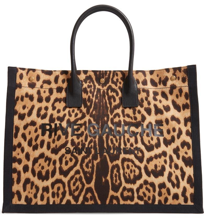 SAINT LAURENT Noe Leopard Canvas Tote, Main, color, NATUREL/ MARRON/ NOIR