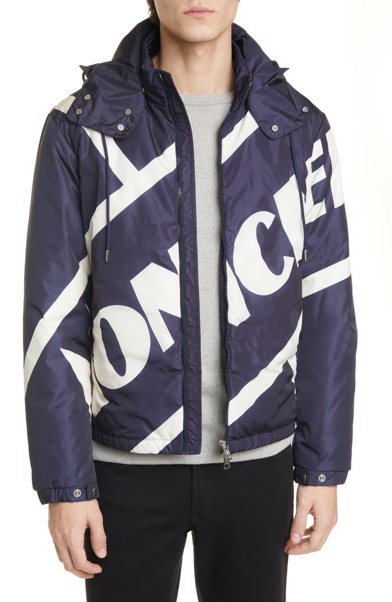 MONCLER Bert Hooded Down Jacket, Main, color, BLUE