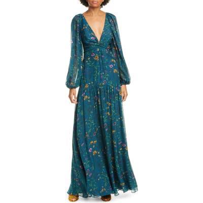Amur Gwenevere Floral Print Long Sleeve Silk Maxi Dress, Blue/green