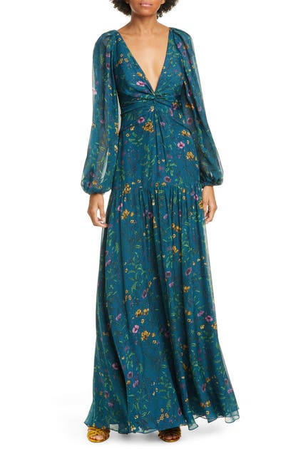 Amur Dresses GWENEVERE FLORAL PRINT LONG SLEEVE SILK MAXI DRESS