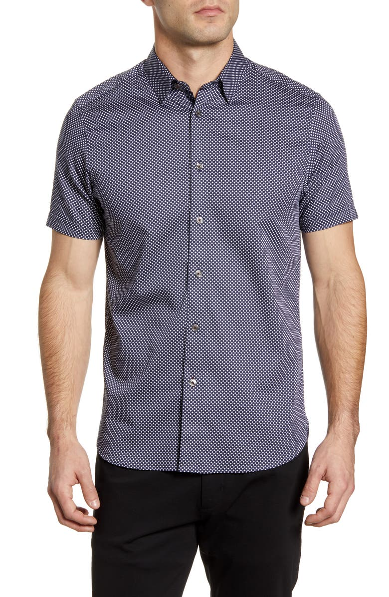 TED BAKER LONDON Norjas Slim Fit Short Sleeve Button-Up Shirt, Main, color, NAVY