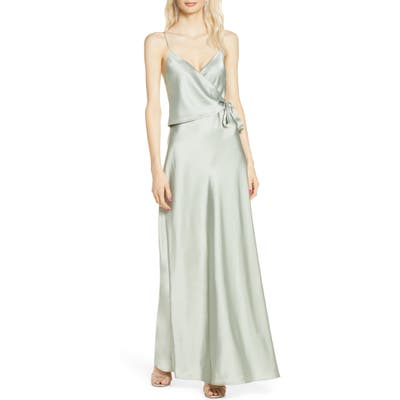 Wayf The Cooper Satin Faux Wrap Gown, Green