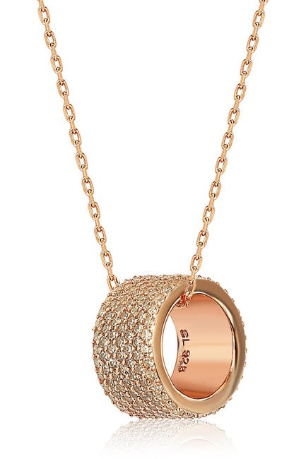 Image of Suzy Levian 14K Rose Gold Plated Sterling Silver Pave CZ Pendant Necklace