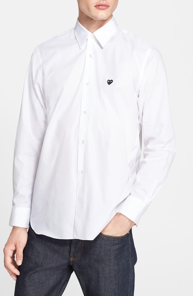 COMME DES GARÇONS PLAY Woven Shirt with Heart Appliqué, Main, color, 100