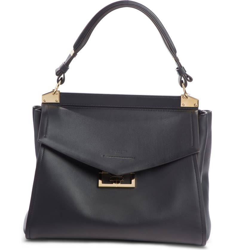 GIVENCHY Medium Mystic Leather Satchel, Main, color, BLACK