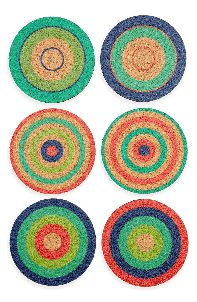 FREDERICKS & MAE Set of 6 Cork Coasters, Main, color, GREEN/ RED/ BLUE