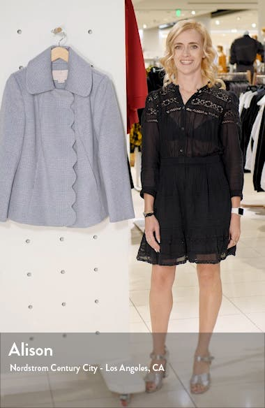 Aubrey Scalloped Houndstooth Check Coat, sales video thumbnail