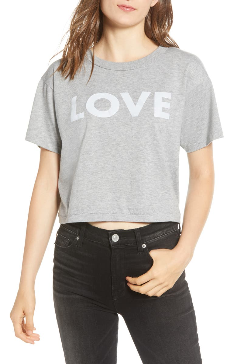 REBECCA MINKOFF Reflective Love Crop Tee, Main, color, 021