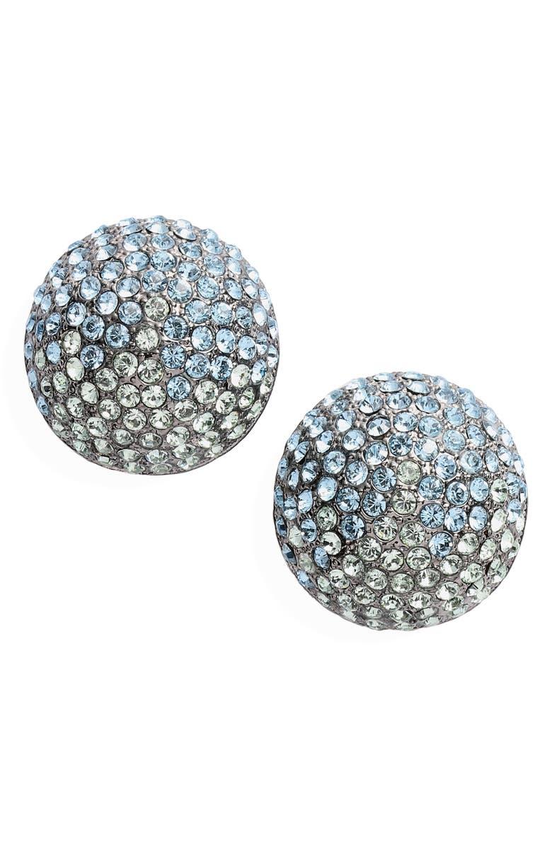 NINA Clip Swarovski Crystal Earrings, Main, color, AQUA/ SILVER
