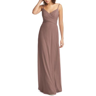 Social Bridesmaids Crossover V-Neck Chiffon Trumpet Gown, Pink