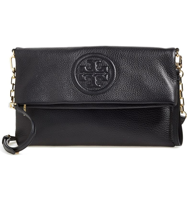 TORY BURCH 'Bombe' Foldover Clutch, Main, color, 001