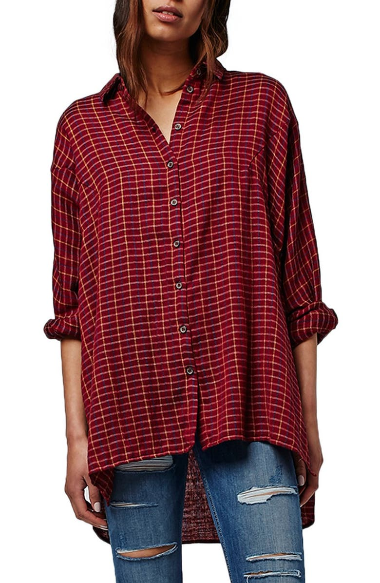 TOPSHOP 'Sugar Baby' Check Oversize Shirt, Main, color, 220