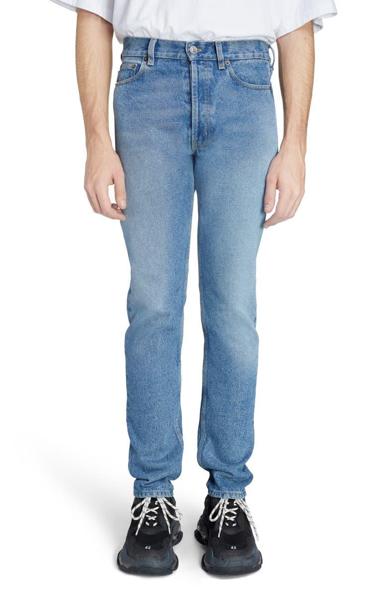 BALENCIAGA Narrow Leg Jeans, Main, color, DOUBLE STONEWASH INDIGO