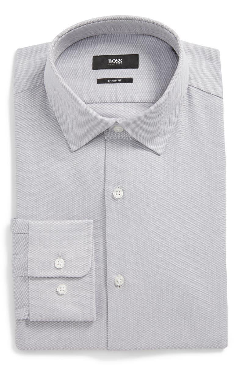 BOSS Marley Sharp Fit Dress Shirt, Main, color, GREY