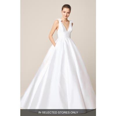 Jesus Peiro Satin V-Neck Bow Detail Wedding Dress