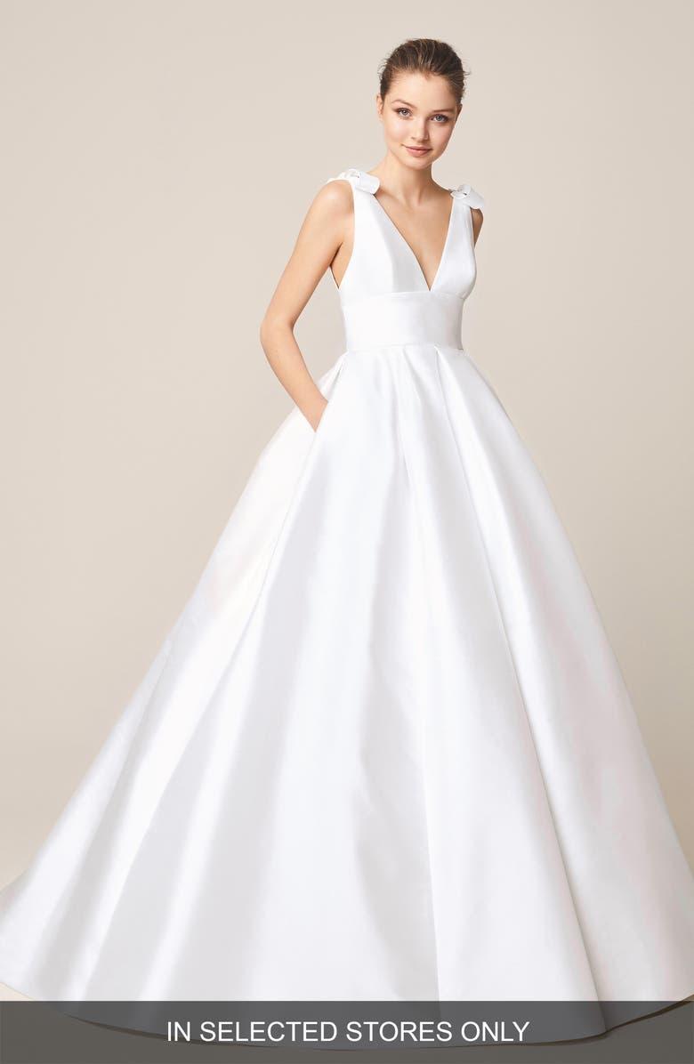 JESÚS PEIRÓ Satin V-Neck Bow Detail Wedding Dress, Main, color, OFF WHITE