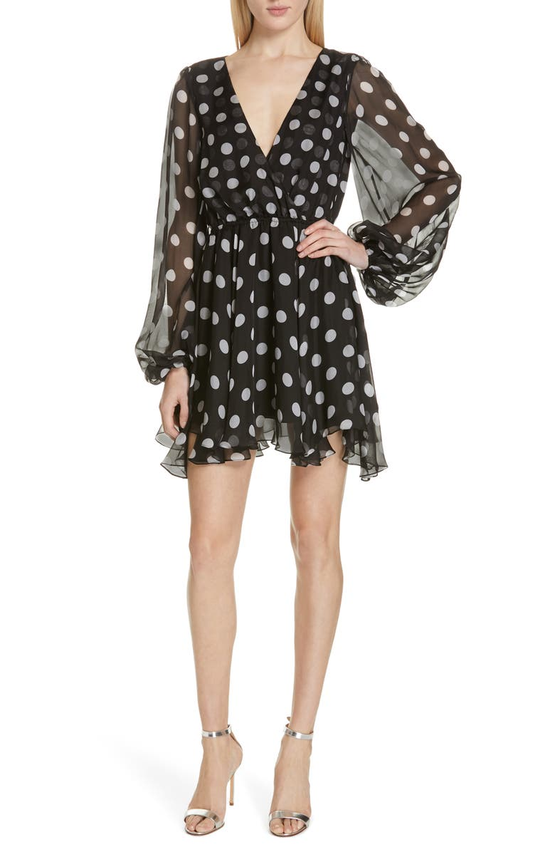 CAROLINE CONSTAS Olena Polka Dot Silk Minidress, Main, color, 001