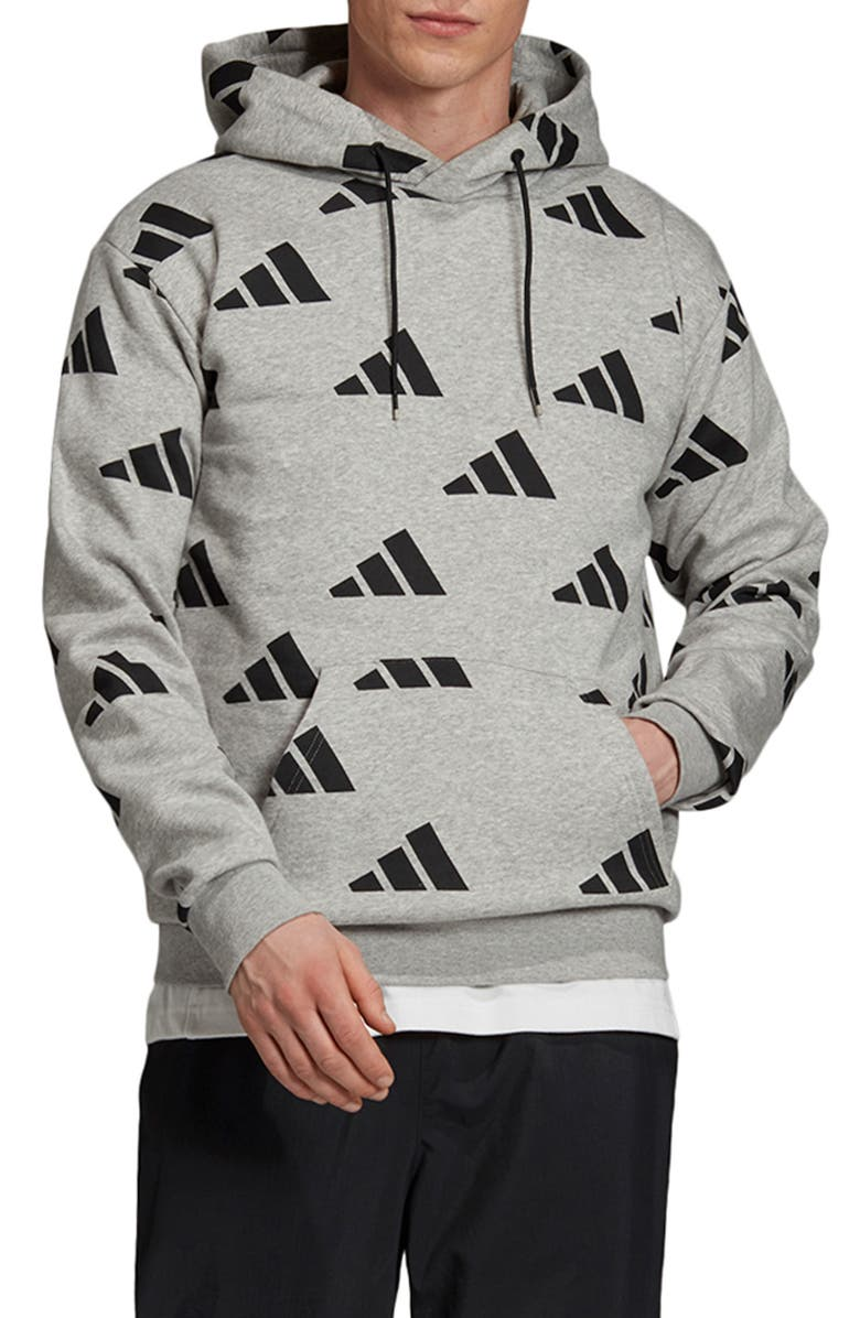 ADIDAS Athletics Pack Allover Print Hoodie, Main, color, MEDIUM GREY HEATHER/ BLACK