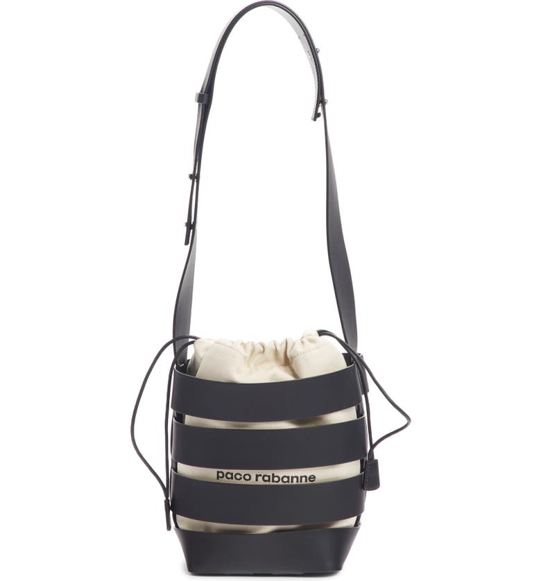 PACO RABANNE Cage Leather & Canvas Hobo, Main, color, 001