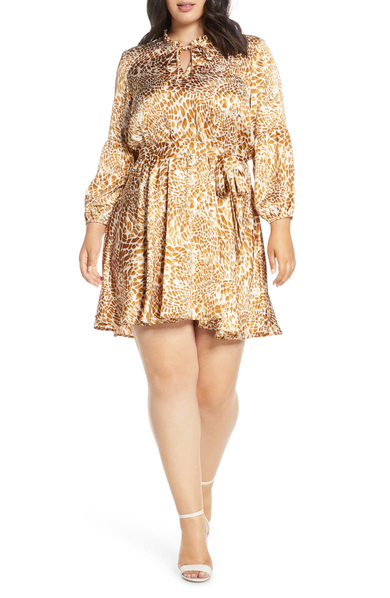 GIBSON x City Safari Tara Gibson Tie Neck Satin Dress, Main, color, GOLDEN GIRAFFE