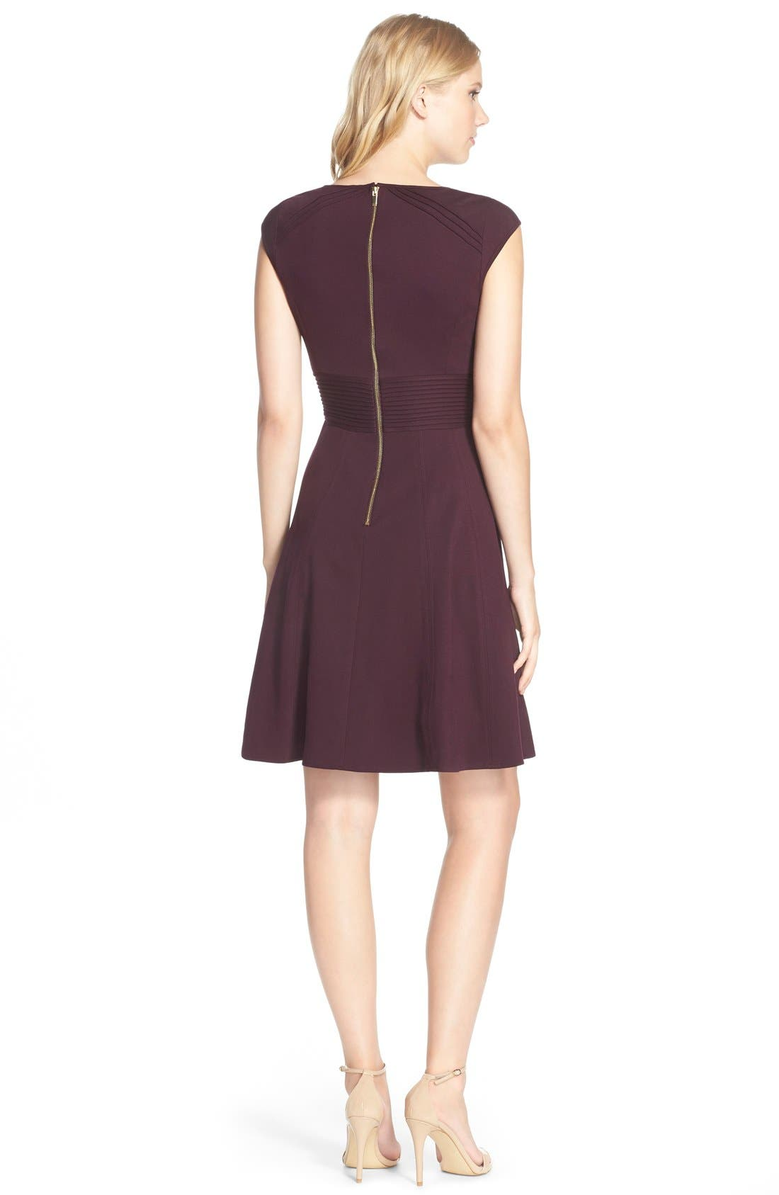,                             Pintucked Waist Seamed Ponte Knit Fit & Flare Dress,                             Alternate thumbnail 28, color,                             500