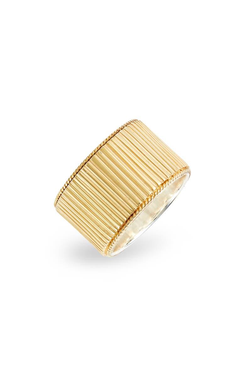 ANNA BECK Ribbed Cigar Band Ring, Main, color, GOLD