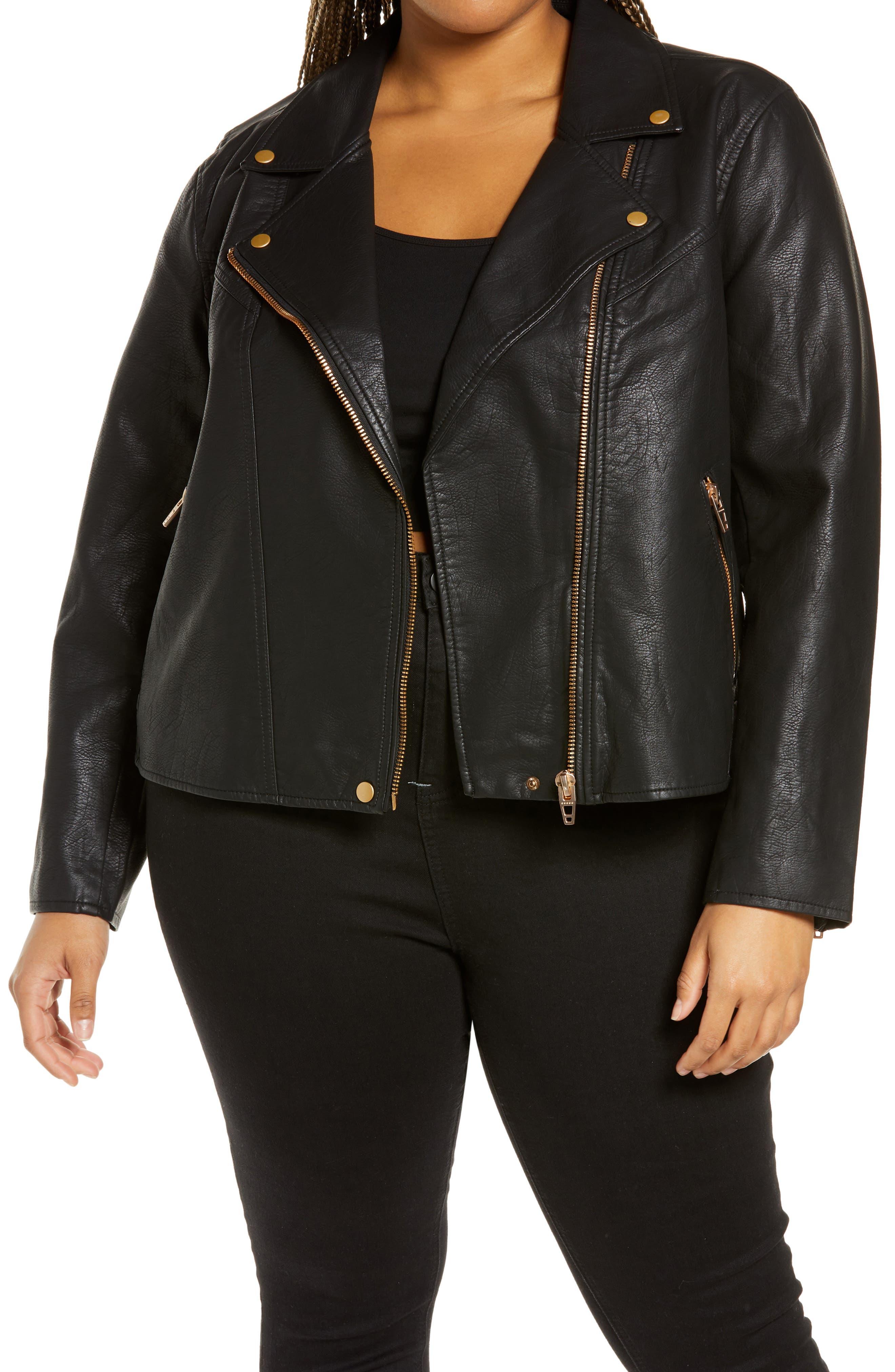 Plus Size Women's Blanknyc Lifechanger Faux Leather Moto Jacket, Size 1X - Black