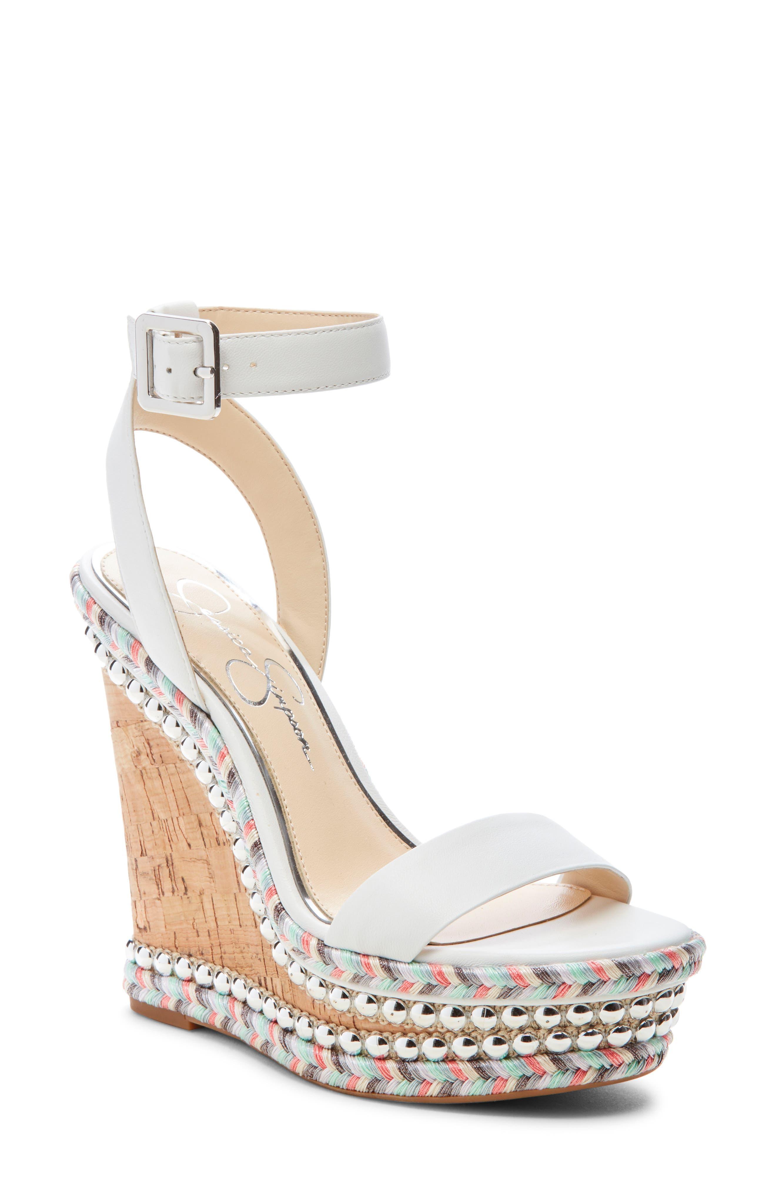 Jessica Simpson Alinda Embellished Wedge Sandal- White