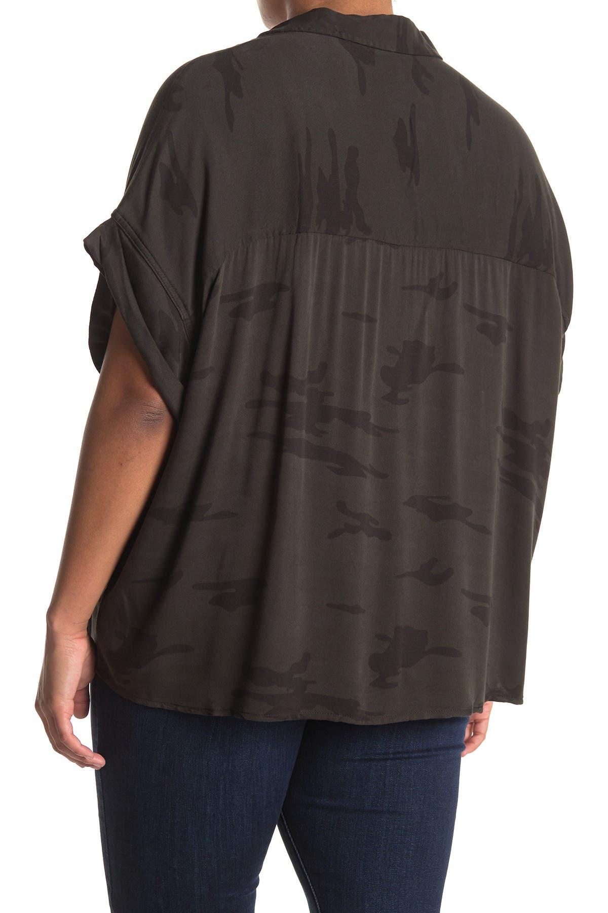 Image of Sanctuary Camo Short Sleeve Button Down Shirt