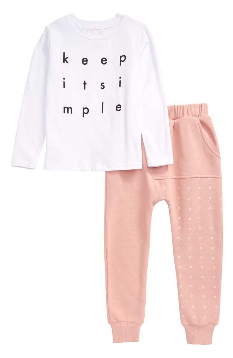 TINY TRIBE Simple Graphic Tee & Sweatpants Set, Main, color, WHITE / PINK