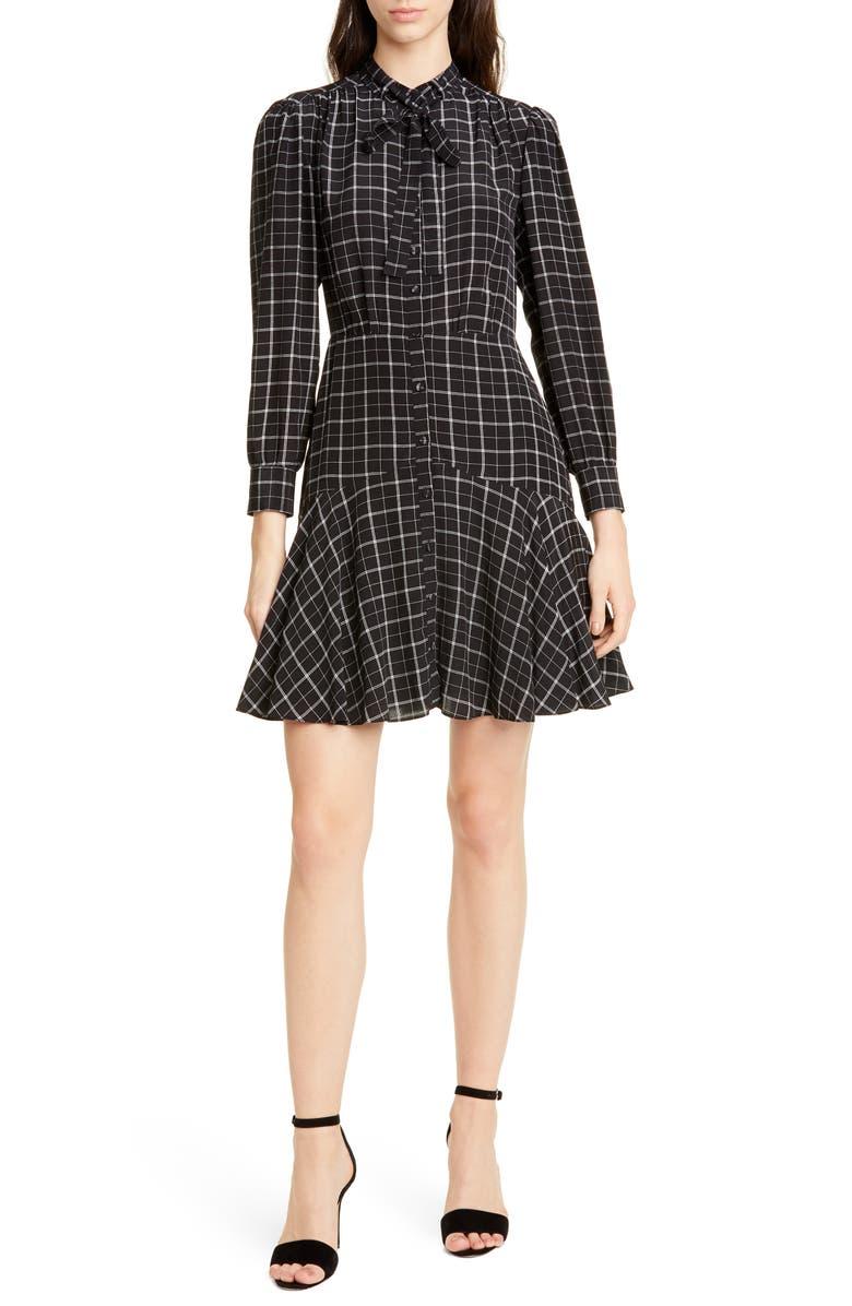 REBECCA TAYLOR Long Sleeve Plaid Silk Dress, Main, color, BLACK