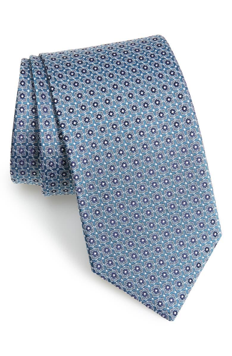 ETON Geometric Silk Tie, Main, color, NAVY