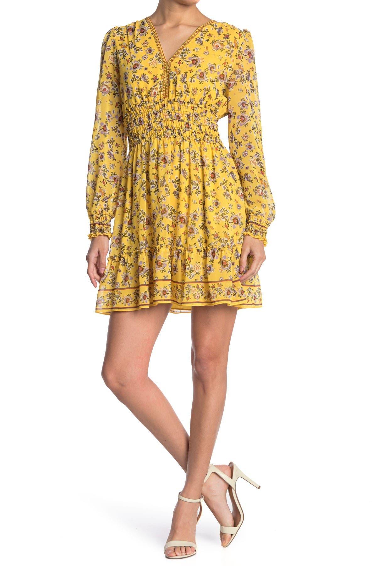 70s Clothes | Hippie Clothes & Outfits Max Studio V-Neck Smocked Dress Size L - Mzlvptfp at Nordstrom Rack $39.97 AT vintagedancer.com