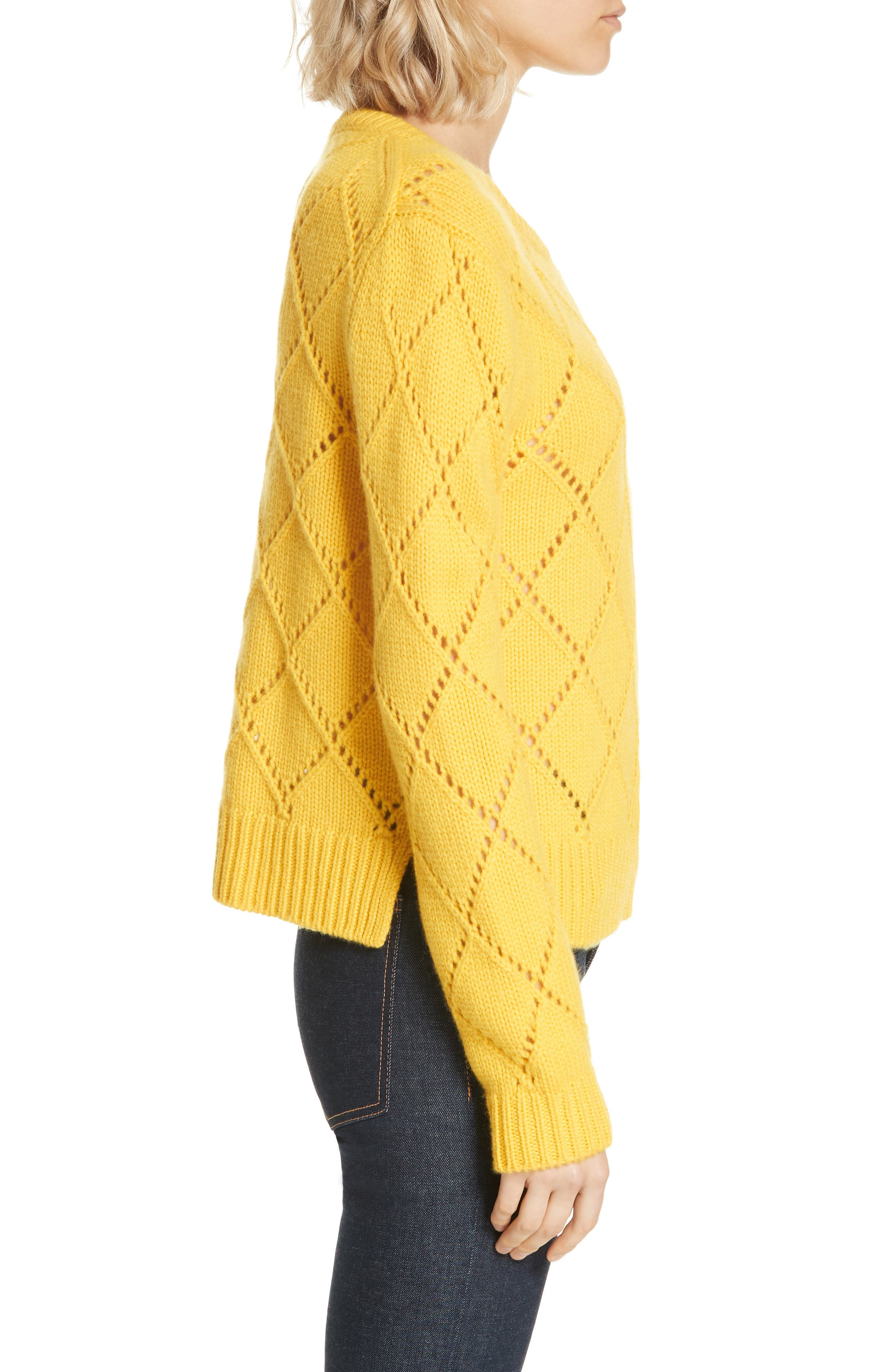 ,                             Cashmere Textured Harlequin Sweater,                             Alternate thumbnail 3, color,                             YELLOW