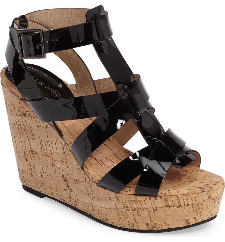 PELLE MODA Rayjay Wedge Sandal, Main, color, BLACK LEATHER