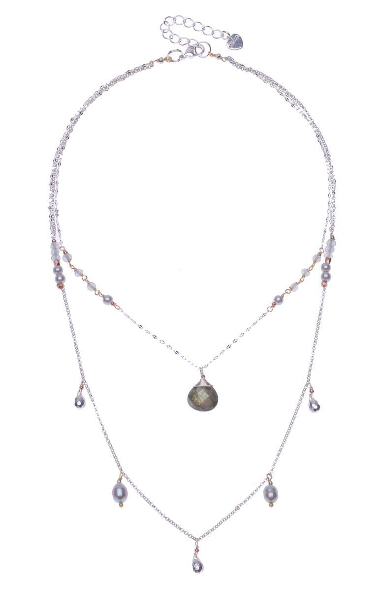 NAKAMOL DESIGN Freshwater Pearl & Labradorite Layered Necklace, Main, color, SILVER