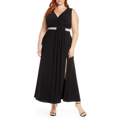 Plus Size Morgan & Co. Pleat Detail Sleeveless Gown