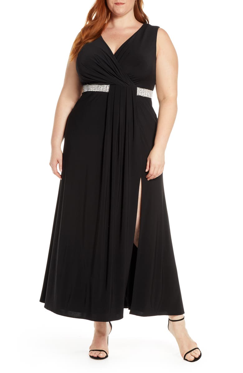 MORGAN & CO. Pleat Detail Sleeveless Gown, Main, color, BLACK