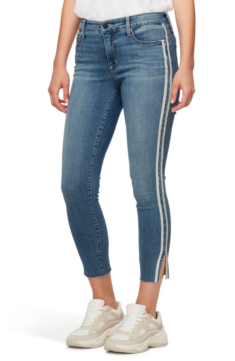 SANCTUARY Social Standard High Waist Racer Stripe Ankle Skinny Jeans, Main, color, BLUEBIRD WITH RACER STRIPE