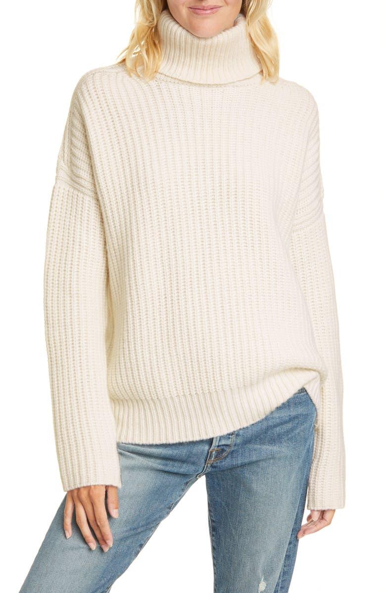 LA LIGNE Ribbed Turtleneck Cashmere Sweater, Main, color, CREAM