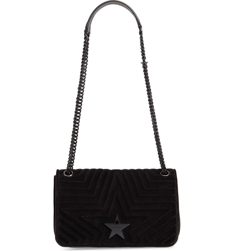STELLA MCCARTNEY Medium Velvet Star Shoulder Bag, Main, color, BLACK