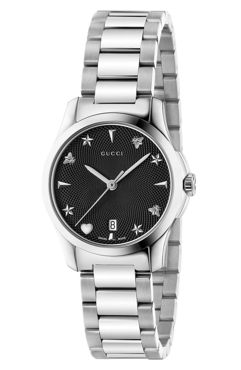 GUCCI G-Timeless Bracelet Watch, 27mm, Main, color, SILVER/ BLACK/ SILVER