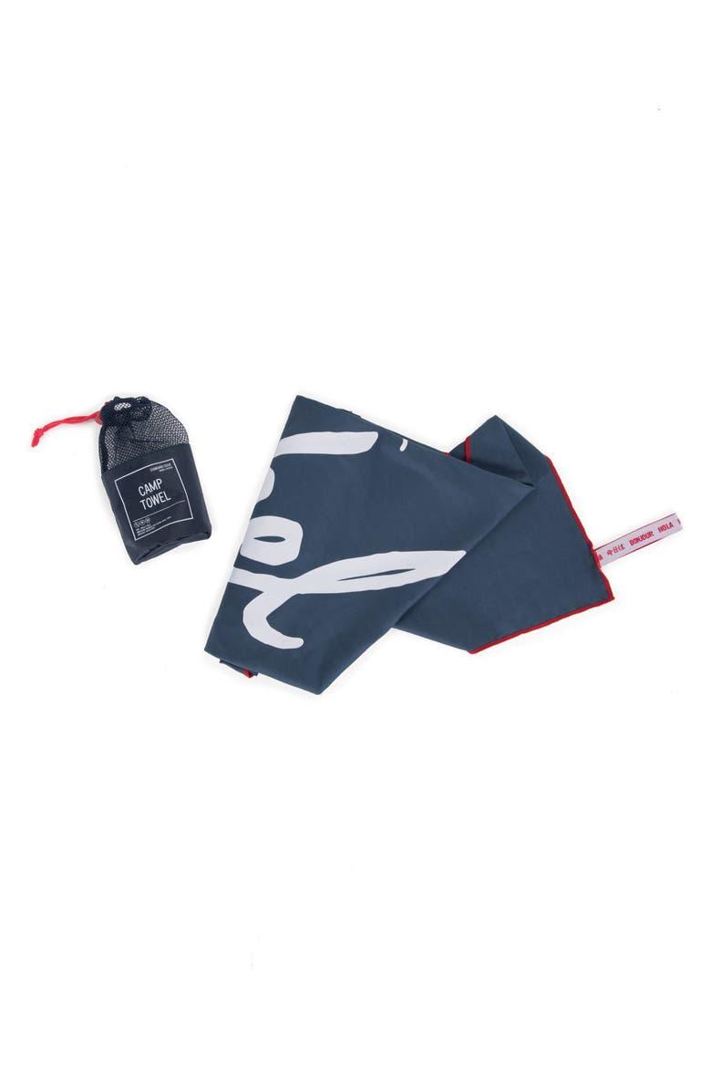 HERSCHEL SUPPLY CO. Camp Towel, Main, color, NAVY/ RED