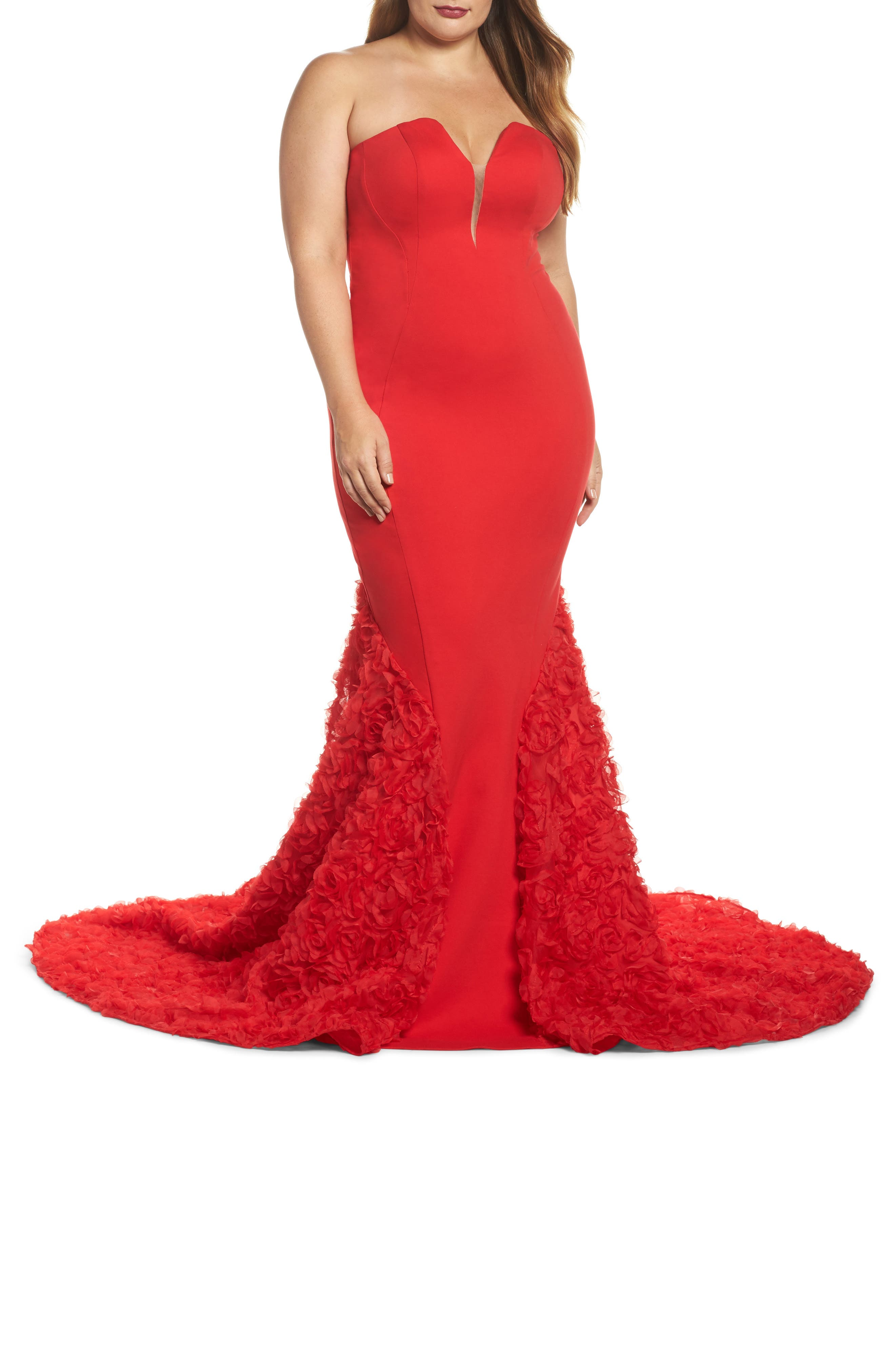 Plus Size MAC Duggal Strapless Bustier Rosette Gown, Red